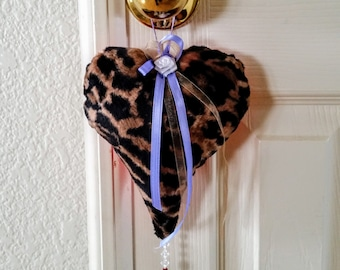 Heart Sachet, Leopard print with beaded trim, silk rose, and ribbon