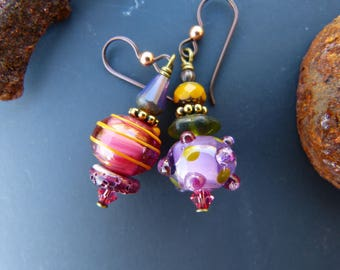 Asymmetrical Lampwork Glass Earrings in Fuchsia Purple and Mustard