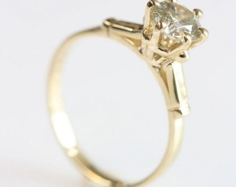Diamond Engagement Ring-Solitaire ring-14K Yellow Gold Ring-0.70 ct diamond-Promise ring-Solitaire diamond ring- Wedding & Engagement