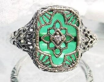 New Custom Sterling Filigree Art Deco Emerald Glass Ring - Antique Style Sterling Replica Emerald Green Sunray Glass Ring - Camphor Glass