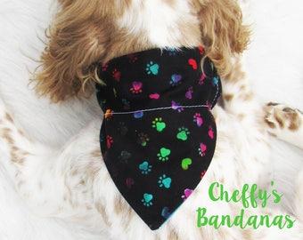 Tie Dye Paw Prints and Hearts Dog Collar Bandana - Black