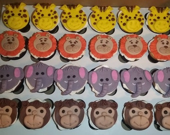 Animal Themed Baby Shower Cupcake, Cake, Cookie Toppers