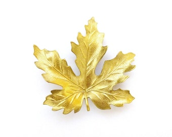 Gold Maple Leaf Hair Clip Nature Barrette Bride Bridal Bridesmaid Garden Autumn Fall Rustic Woodland Wedding Accessories Womens Gift For Her