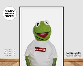 Kermit The Frog Supreme Print, Supreme X Kermit Poster Print Supreme Kermit The Muppets Supreme Kermit the frog puppet print poster