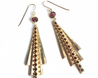 Fabulous Burgundy and Gold Art Deco Fan Earrings with Vintage Swarovski Crystal Beads