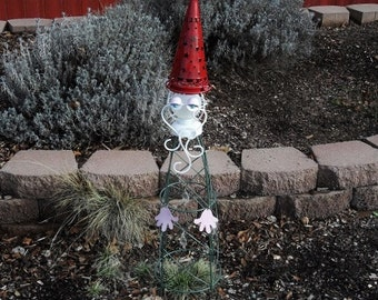 Sleepy Garden Gnome 2 plant cage is an adorable addition to any garden.