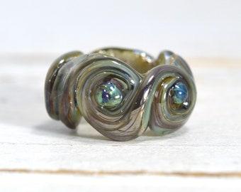dread lock lamp work bead silvery blues...dread bead....XTRA large hole... glass SINGLE lampwork hair bead, SRA handmade 50318-8
