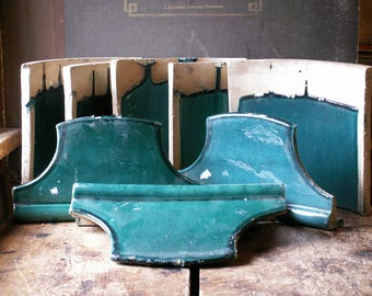 Antique Glazed Clay Roof Tiles in Aqua Teal - Great Architectural Salvage for Display