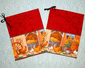 Pair of Chicken Themed Drawstring Bags from The Farmer's Daughter