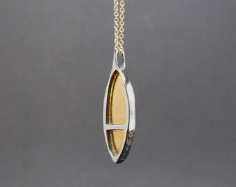 Sterling Silver and 24K Gold Necklace - Modern Gold Necklace