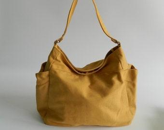 Diaper bag with zipper closure Women Shoulder bag ,canvas bags, ,Cross body bag, School Bag - Yellow Mustard  - Sale 25% -  /  no.101 RENEE