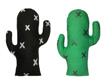 Cactus Cushion green or black, kids room decor pillow, soft toy