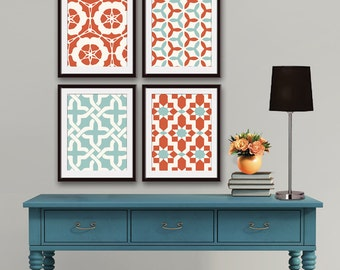 Moroccan and Geometric Patterns (Series A) Set of 4 - Art Prints (Featured in Burnt Orange and Silver Sage) Pattern Wall Art