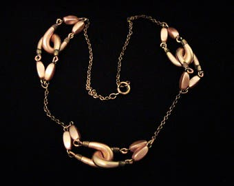 Antique Intertwined Blush Pink Glass Pearl & Brass Necklace
