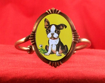 Bracelet  Adorable Boston Terrier Puppy Simple Decorative Star Burst Design Plated Cuff Retro Kitsch Kawaii Storybook