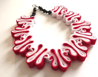 Red Felt Necklace Felted Jewelry Recycled Eco Friendly Felt Bib Necklace In Red Ombre