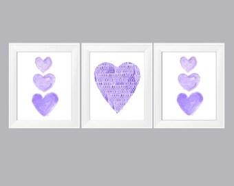 Purple Wall Decor, 11x14 Set of 3 Watercolor Prints, Purple Nursery Decor,  Purple Girls Room, Girls Wall Decor, Purple Hearts, Purple Art