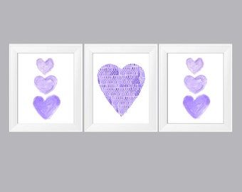 Purple Wall Decor, 11x14 Set Of 3 Watercolor Prints, Purple Nursery Decor,  Purple