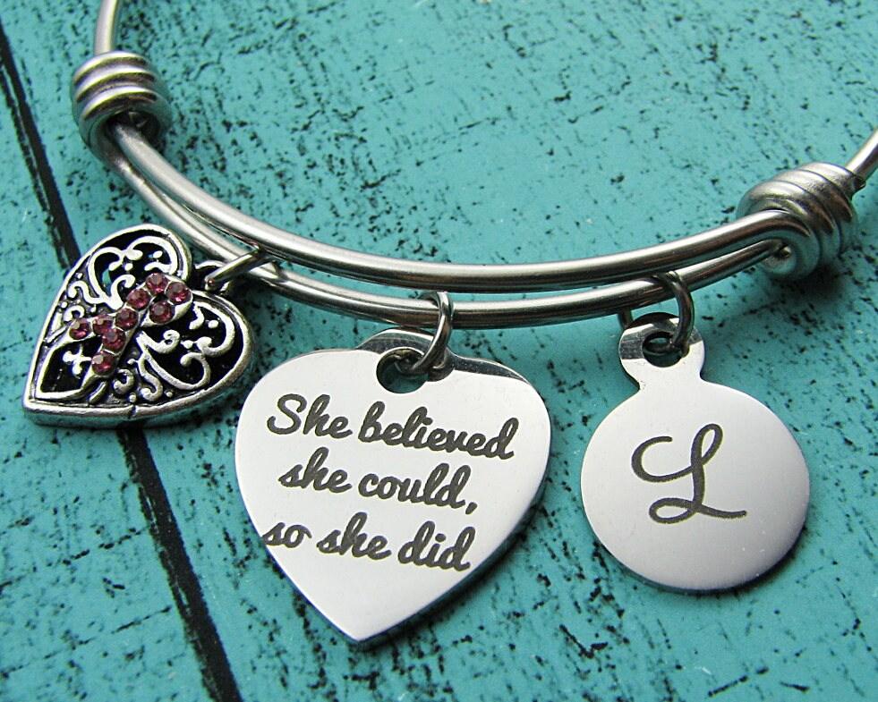 cancer survivor bracelet breast cancer jewelry get well