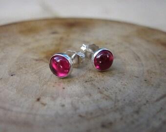 Ruby Sterling Silver Studs Post Earrings 6mm