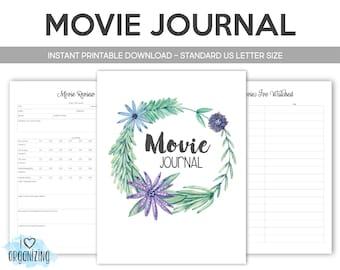 Movie Binder: Home Management Binder, Instant Printable Download, Planner, Movie Inventory, Movie Review, Netflix,