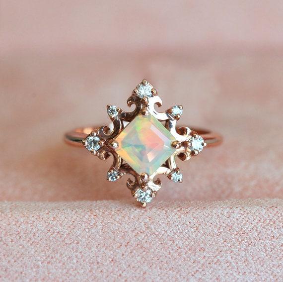 Fire Opal Ring Rose Gold Opal Ring Opal Diamond Ring Opal
