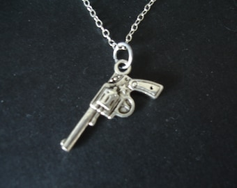 Silver Gun Charm Necklace