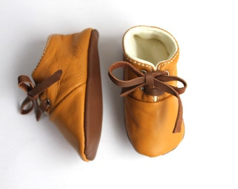 3-6 months  Slippers / Baby Shoes Lamb Leather  OwO SHOES Mustard Brown