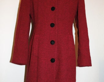 Vintage BARAMI Fitted at Waist with four Button Front Long Coat in Red and Black Women's Fits Size 6 to 8