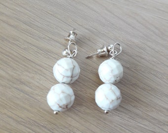 Howlite earrings, Silver earrings, Semi precious stones, Gift, Jewellery, Howlite, Jewelry