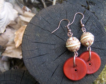 Vintage Autumn Button and Bali Bead Earrings