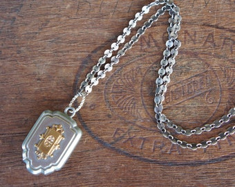 Antique Fob Medallion Necklace on Silver Paillette Chain
