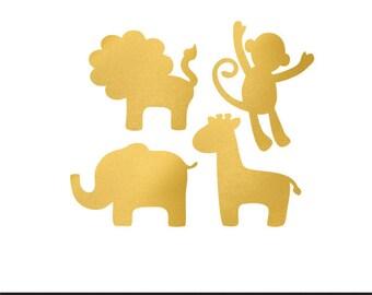 safari animals gold foil clip art png svg dxf file file silhouette cricut baby shower kids animals clip art