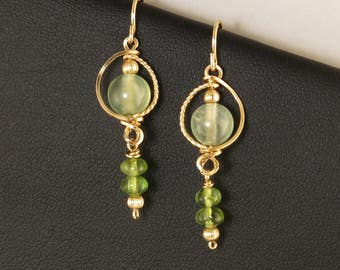 Light Green Gemstone Gold Dangle Earrings, Green Peridot and Prehnite Gemstone Wire Wrapped Gold Earrings