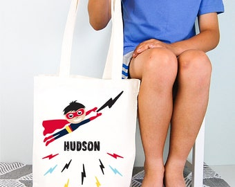Superhero Personalised Boys Library Tote Bag
