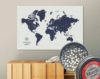 Vintage Push Pin Map (Navy) Push Pin World Map Pin Board World Travel Map on Canvas Push Pin Travel Map Personalized Gift for Family