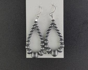 stamped Navajo pearl Hollow teardrop sterling silver dangle earrings