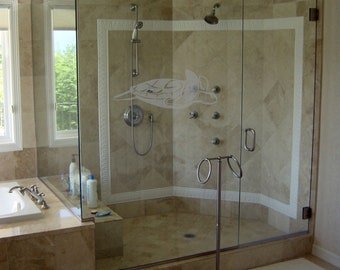 """Marine Gliders - Beach Vibes Series - Etched Decal - For Shower Doors, Glass Doors and Windows - 4.5"""" tall x 12"""" wide"""