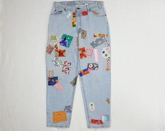 """Patchwork jeans hippie clothes patched jeans mens 90s vintage Levi's hippy patch denim mens hippie clothing LEVIS 560 36"""" waist"""