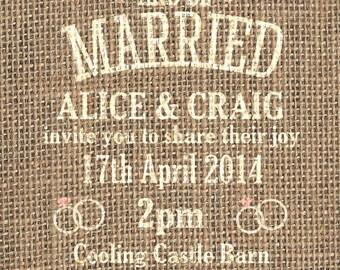 SAMPLE Hessian Burlap Rustic Vintage/Country Shabby Chic Wedding Invitations!