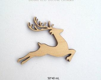 Laser cut DEER wood shape / Laser cut wood / Wood shapes / Deer decor / Wood animals / Laser engraved / Forest animals / Wood charms / Decor