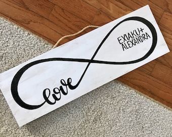 Personalized Hand Painted White Rustic Finished Sign with Love Infinity Art and Names