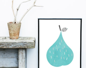 Scandinavian Art, Pear Print, Instant Download, Printable Art, Kitchen Decor, Kitchen Wall Art, Wall Decor