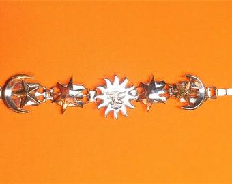 Vintage Bracelet Sun Moon Stars - Celestial