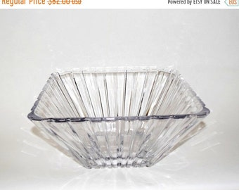 Memorial Day Sale Large Vintage Square Crystal Bowl with Deep Cut Vertical Lines