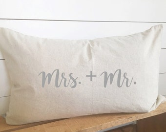 mrs. and mr kidney pillow, bridal gift, bridal pillow, wedding gift, wedding pillow, bedroom pillow, decorative pillow 16x26 pillow