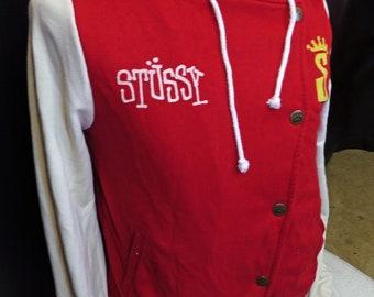 Vintage Men's 1990's Stussy Rare Designer Varsity Jacket Red White Hooded Hoody Sweater Size Large!