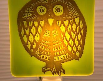 Mid Century Modern Retro Owl Night Light Fused Glass Lime Green