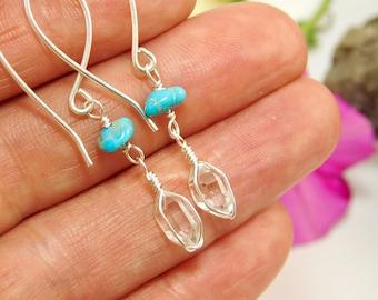 NY HERKIMER DIAMOND and Turquoise Earrings - Herkimer Diamond - Herkimer Crystal Earrings - Sterling Silver - Natual Quartz Crystal Earrings