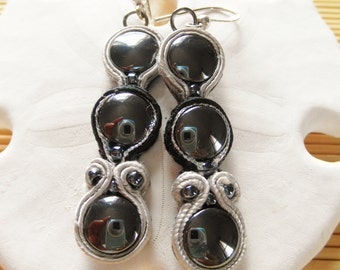 Blk and Grey Soutache Dangle Earrings